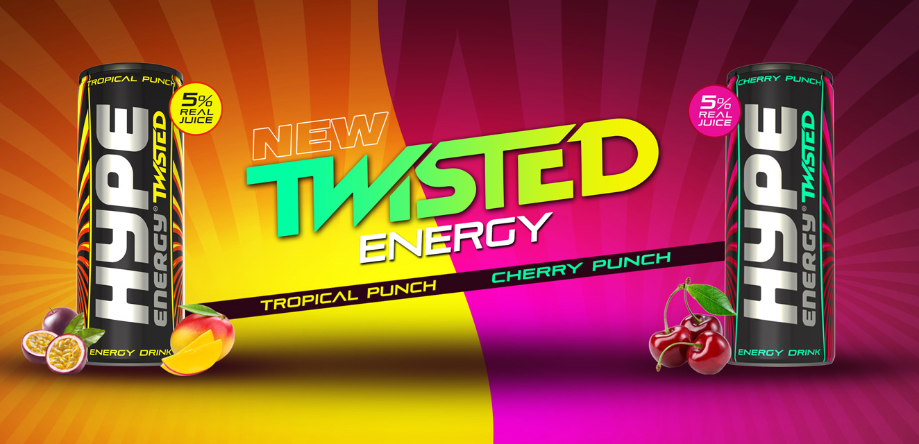 Hype Energy Twisted Tropical Punch and Cherry Punch